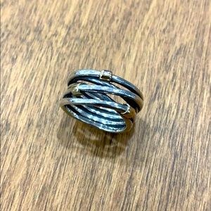 Pandora Sterling Silver Rope Ring w 14K Accents